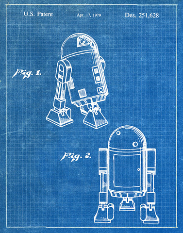 An image of a(n) R2D2 1979 - Patent Art Print - Blueprint.