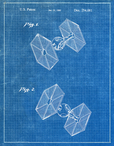 An image of a(n) TIE Fighter 1980 - Patent Art Print - Blueprint.