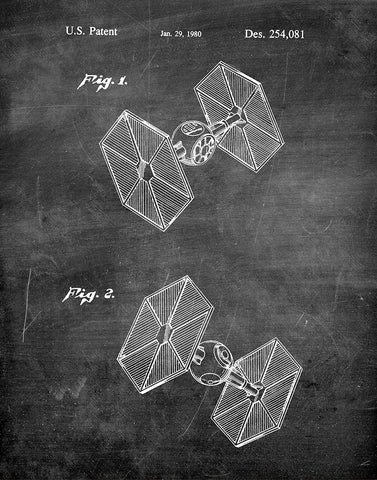An image of a(n) TIE Fighter 1980 - Patent Art Print - Chalkboard.
