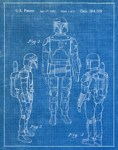 An image of a(n) Boba Fett 1982 - Patent Art Print - Blueprint.