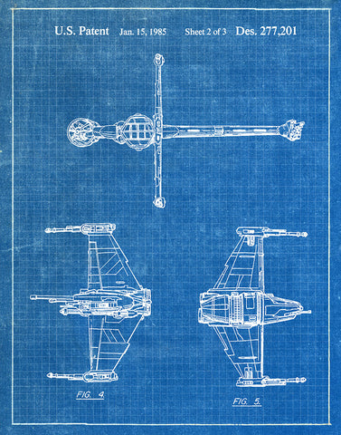 An image of a(n) B Wing 1985 - Patent Art Print - Blueprint.