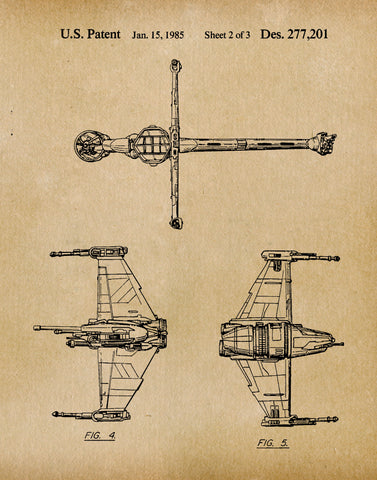 An image of a(n) B Wing 1985 - Patent Art Print - Parchment.