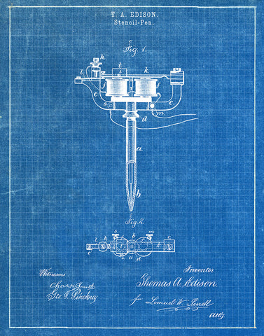 An image of a(n) Stencil Pen Tattoos 1877 - Patent Art Print - Blueprint.