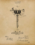An image of a(n) Stencil Pen Tattoos 1877 - Patent Art Print - Parchment.