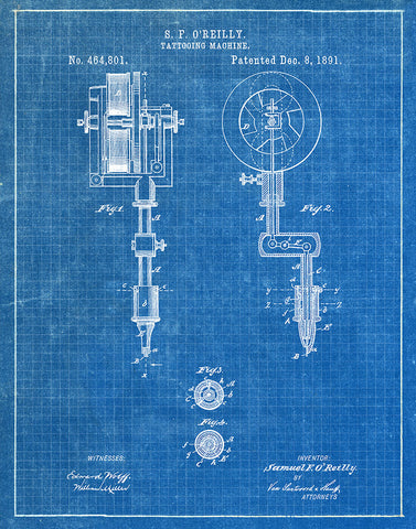 An image of a(n) Tattooing Machine 1891 - Patent Art Print - Blueprint.