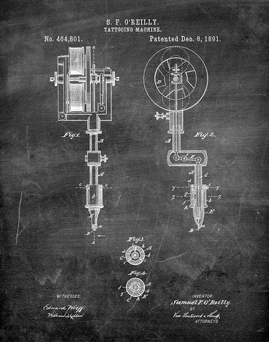 An image of a(n) Tattooing Machine 1891 - Patent Art Print - Chalkboard.