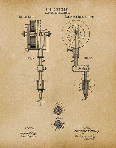 An image of a(n) Tattooing Machine 1891 - Patent Art Print - Parchment.