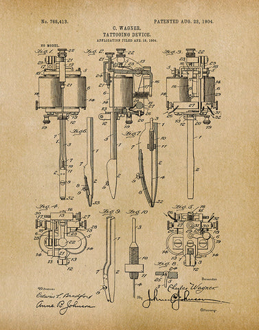 An image of a(n) Tattooing Device 1904 - Patent Art Print - Parchment.