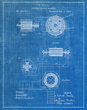 An image of a(n) Dynamo Machine 2 Tesla 1888 - Patent Art Print - Blueprint.