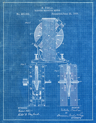 An image of a(n) Electro Magnetic Motor 1 Tesla 1889 - Patent Art Print - Blueprint.