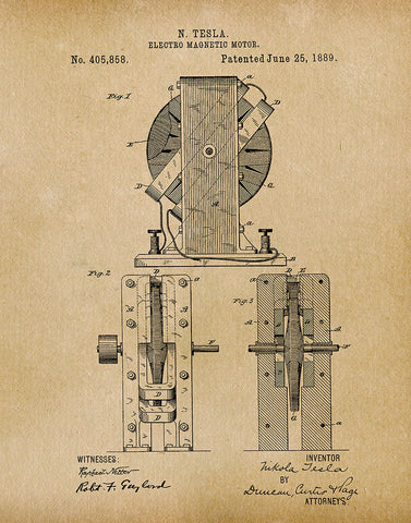 An image of a(n) Electro Magnetic Motor 1 Tesla 1889 - Patent Art Print - Parchment.