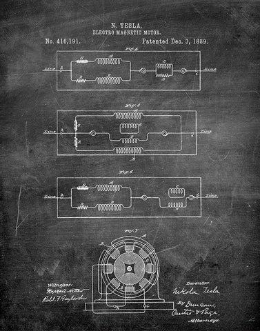 An image of a(n) Electro Magnetic Motor 2 Tesla 1889 - Patent Art Print - Chalkboard.