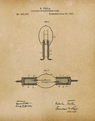 An image of a(n) Incandescent Lamp 1891 - Patent Art Print - Parchment.
