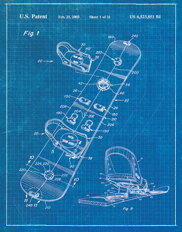 An image of a(n) Snowboard Patent Art Print Blueprint.