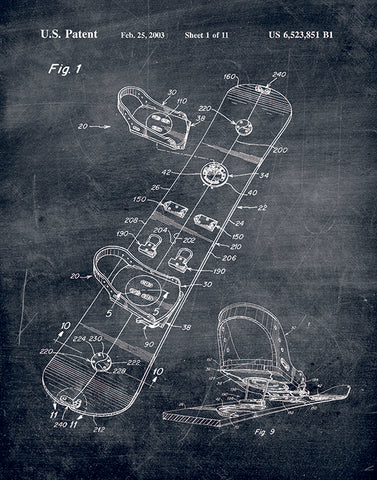 An image of a(n) Snowboard Patent Art Print Chalkboard.