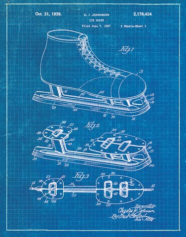 An image of a(n) Ice Skate Patent Art Print Blueprint.