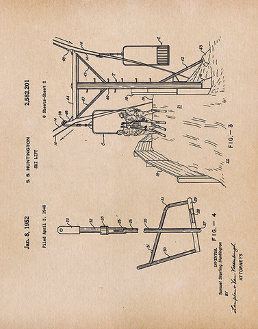 An image of a(n) Ski Lift Patent Art Print Parchment.