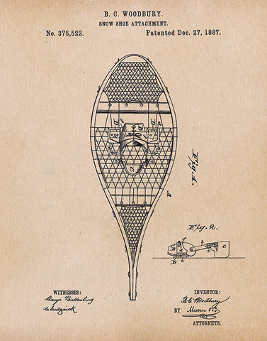 An image of a(n) Snow Shoe Patent Art Print Parchment.