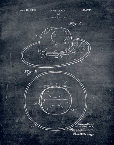 An image of a(n) Hat Patent Art Print Chalkboard.