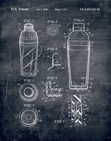 An image of a(n) Cocktail Shaker Patent Art Print Chalkboard.