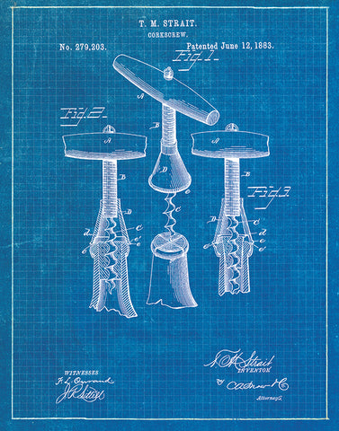 An image of a(n) Corkscrew2 Patent Art Print Blueprint.