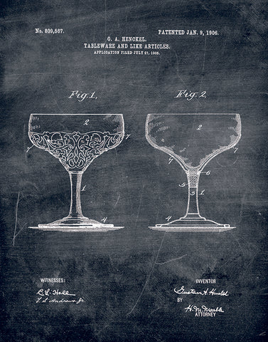 An image of a(n) Glass Patent Art Print Chalkboard.