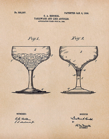 An image of a(n) Glass Patent Art Print Parchment.