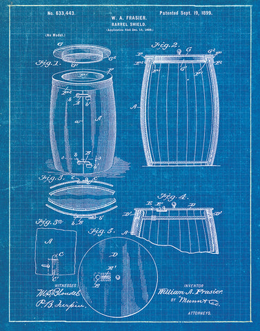 An image of a(n) Barrel Patent Art Print Blueprint.