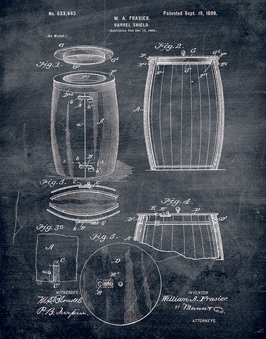 An image of a(n) Barrel Patent Art Print Chalkboard.