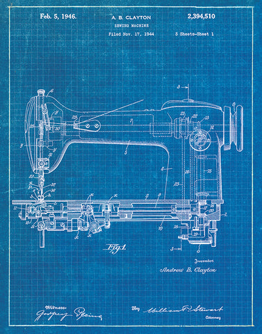 An image of a(n) Sewing Machine Patent Art Print Blueprint.