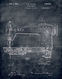 An image of a(n) Sewing Machine Patent Art Print Chalkboard.
