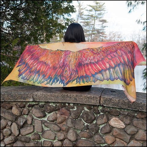 An image of a(n) Jewel Tone Wing Span - Phoenix - Scarf.
