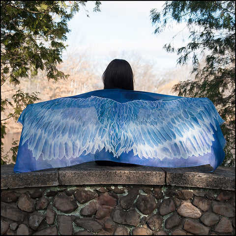 An image of a(n) Blue and Violet Wing Span - Angel - Scarf.