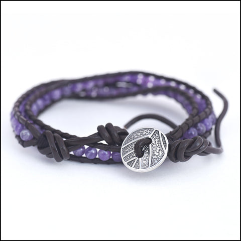 An image of a(n) Amethyst - Semi Precious Stones and Leather Wrap Bracelet.