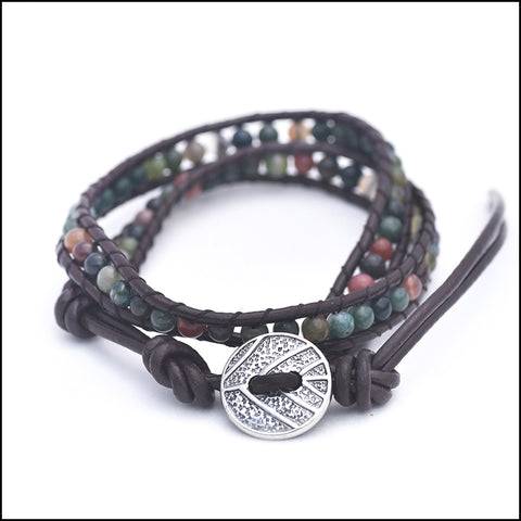 An image of a(n) Indian Agate - Semi Precious Stones and Leather Wrap Bracelet.