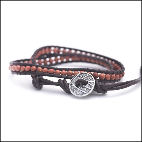 An image of a(n) Goldstone - Semi Precious Stones and Leather Wrap Bracelet.