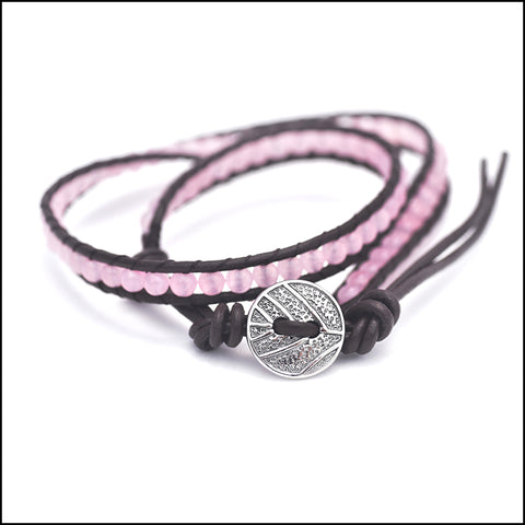 An image of a(n) Rose Quartz - Semi Precious Stones and Leather Wrap Bracelet.