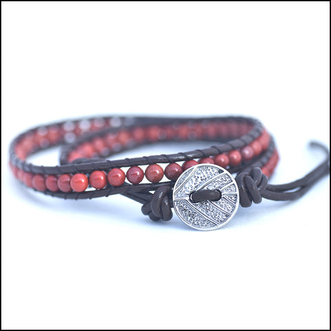 An image of a(n) Red Jasper - Semi Precious Stones and Leather Wrap Bracelet.
