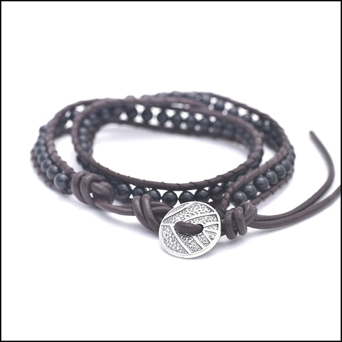 An image of a(n) Black Agate - Semi Precious Stones and Leather Wrap Bracelet.