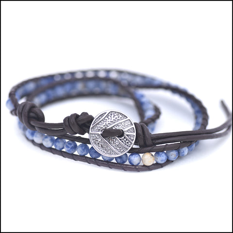 An image of a(n) Dumortierite - Semi Precious Stones and Leather Wrap Bracelet.