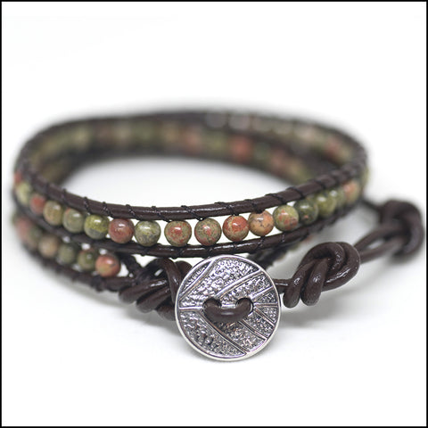 An image of a(n) Ukanite - Semi Precious Stones and Leather Wrap Bracelet.
