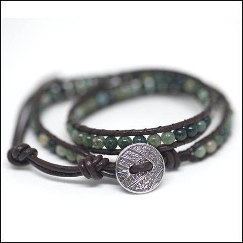 An image of a(n) Moss Agate - Semi Precious Stones and Leather Wrap Bracelet.