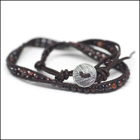 An image of a(n) Red Tigers Eye - Semi Precious Stones and Leather Wrap Bracelet.
