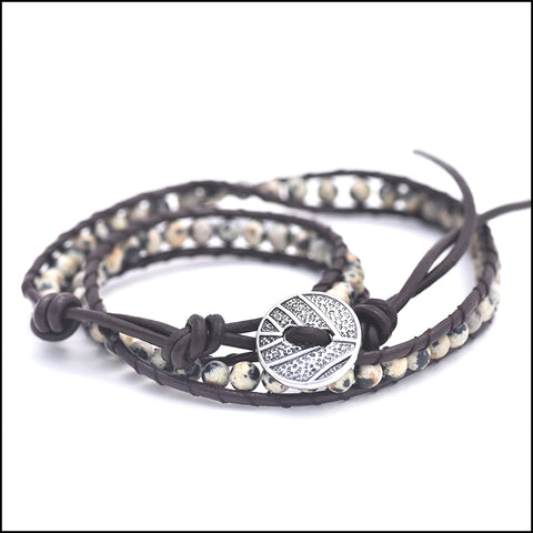 An image of a(n) Dalmation Jasper - Semi Precious Stones and Leather Wrap Bracelet.