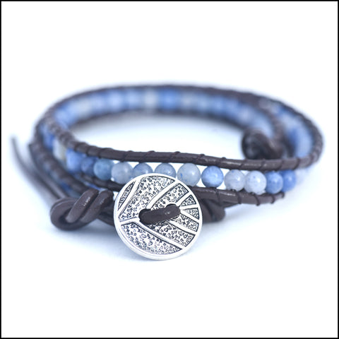 An image of a(n) Blue Adventurine - Semi Precious Stones and Leather Wrap Bracelet.