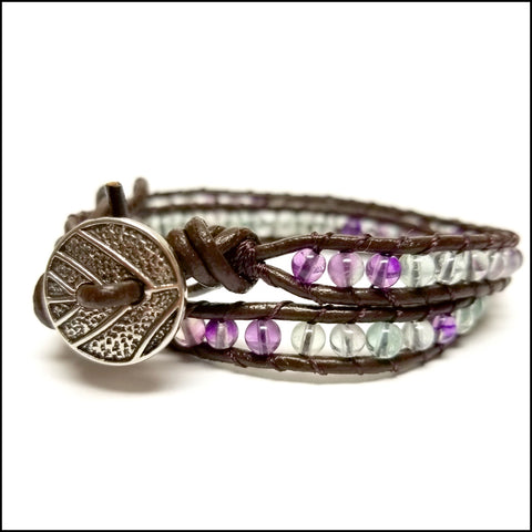 An image of a(n) Fluorite - Semi Precious Stones and Leather Wrap Bracelet.