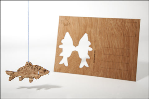 An image of a(n) Carp - Wooden Postcard.