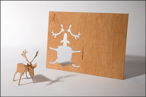 An image of a(n) Reindeer - Wooden Postcard.