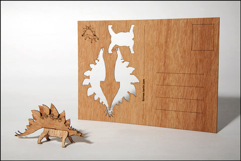 An image of a(n) Stegosaurus - Wooden Postcard.