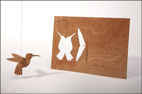 An image of a(n) Hummingbird - Wooden Postcard.